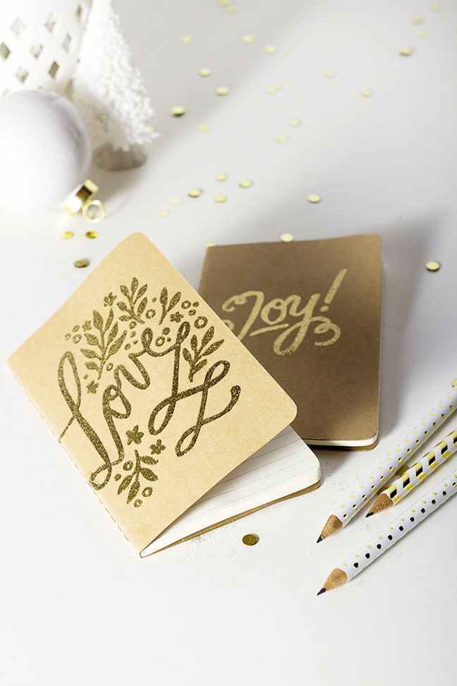 DIY Holiday Gifts: Embossed Calligraphy Notebooks