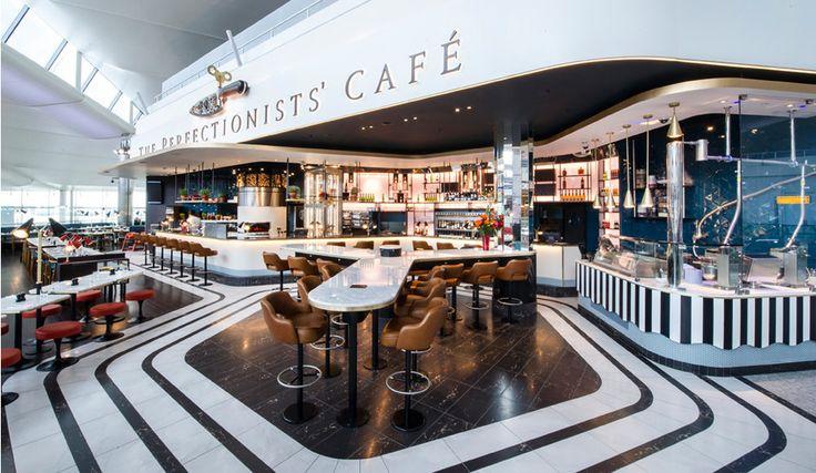 ЛОНДОН - Perfectionists' Café-Автором интерьера стала дизайнер Афродити Красса, которая искала вдохновение в культовом кинематографе и сериалах, таких как «Поймай меня, если сможешь» и «Безумцы».Концепция ресторана Perfectionists' Café отсылает посетителей к 1960-м годам, к эпохе, когда путешествие было праздником в буквальном смысле этого слова.В лондонском аэропорту