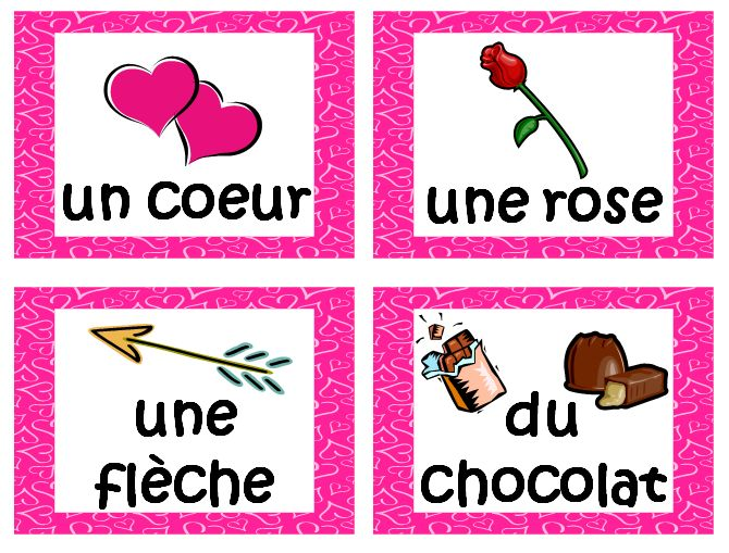 FRENCH Valentines Day Activities Vocabulary And Cards