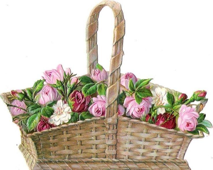 Oblaten Glanzbild scrap die cut chromo Blumen Korb 11cm basket rose fleur