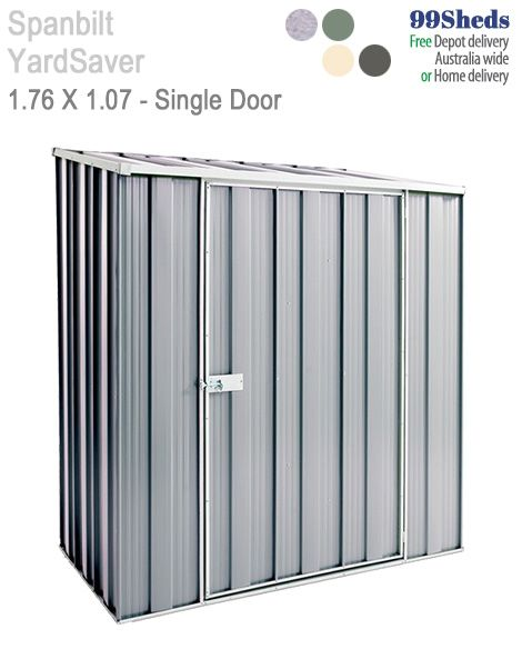The Slimline S53 measuring 1.76m x 1.07m may be perfect for that narrow space. With a extra wide Single Door with 0.98 metre opening. Look at GardenShed.com