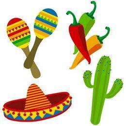 Decoraties Mexicaans 4 stuks -  Een set met 4 wanddecoraties in Mexicaanse stijl. Sambaballen, pepers, een cactus en een sombrero. Afmetingen: 45 x 29cm. | www.feestartikelen.nl