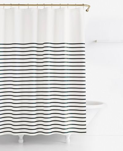 Striped yellow gray white shower curtain