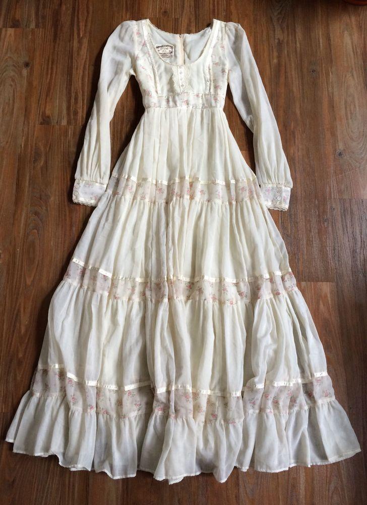 EUC Gunne Sax Jessica McClintock 1970s Prairie Wedding Dress, Cream Floral, 7 XS…