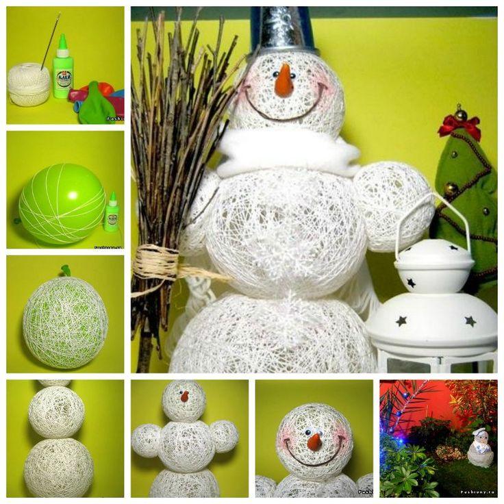 DIY Muñeco de nieve realizado con cordel de lana y cola blanca. Fuente: Wonderfuldiy
