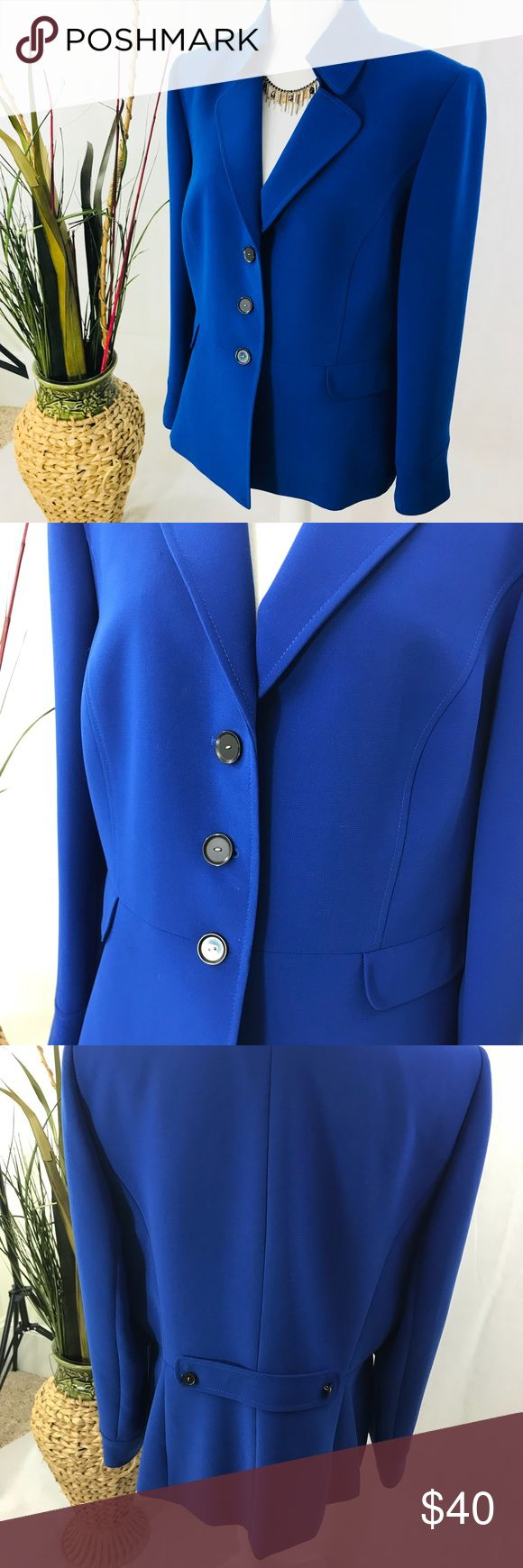 Tahari Jacket Royal blue dress ( blazer) jacket. Button closure, long sleeves, medium weight. Excellent condition and quality Size more like a 16. Tahari Jackets & Coats