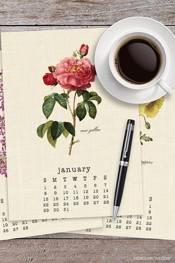 FREE Printable 2017 Vintage Botanical Calendar