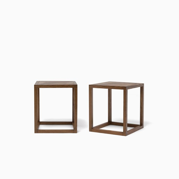 PAIR OF CUBE PARQUET SIDE TABLES | Demiurge New York