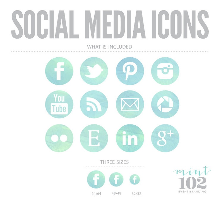 Turquoise Round Watercolor Social Media Icons. $6.50, via Etsy.