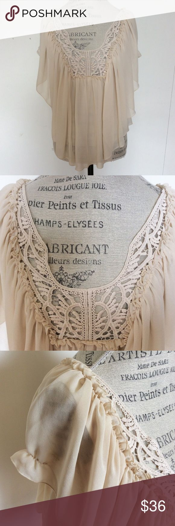 Victorias Secret Beige Ruffle Crochet Top XS Size Extra Small XS. Excellent condition. Color is even all the way through the shirt even though it looks darker in some places in the photos. Tags: moda international, peasant costume, Gypsy, boho, smock top, shirt, batwing, dolman sleeve, lace, crochet, free people. Save when you bundle! :) Moda International Tops Blouses