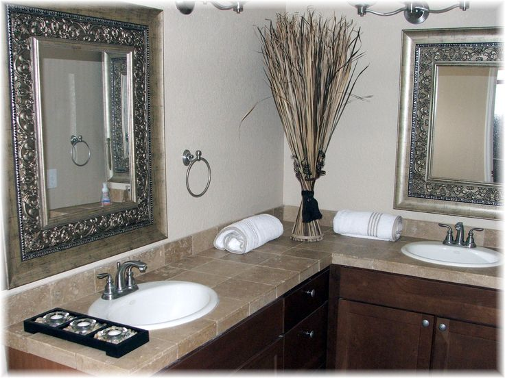 Web Photo Gallery Cool Gray Marble Countertop L Shaped Vanity Table And Antique Silver Mirror Frame As Inspiring Bathroom Accessories Ideas