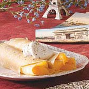 Peach Crepes Recipe.  I didn't make the crepes off this (I have a crepe one that I like).  But the peach filling was AMAZING!  It was so good.  I used my canned peaches because I didn't have fresh.  I think this would also taste so good over some vanilla ice cream!!