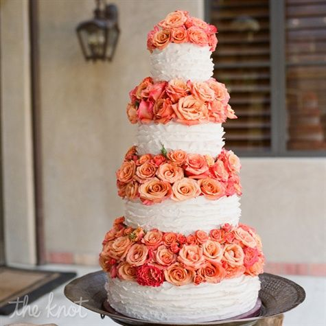 Ruffled Cake With Garden Roses Wedding Cake Unique