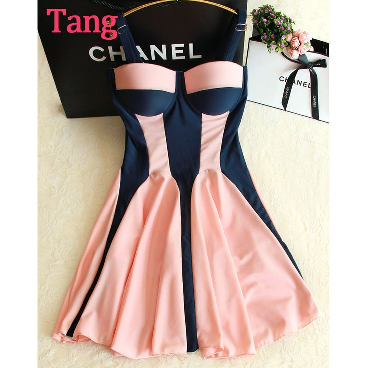 NEW 2016 HOT Designer Fashion Trajes De Bano Colorblock Steel Support Push-Up Padded Skirted One-Piece Bathing Suit Dress 2 Colors M-XL