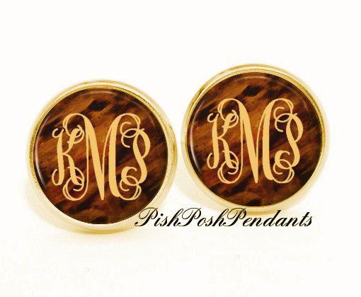 Tortoise Shell Monogram Earring, Monogram Stud Earrings, Monogram Jewelry (493) on Etsy, $8.50