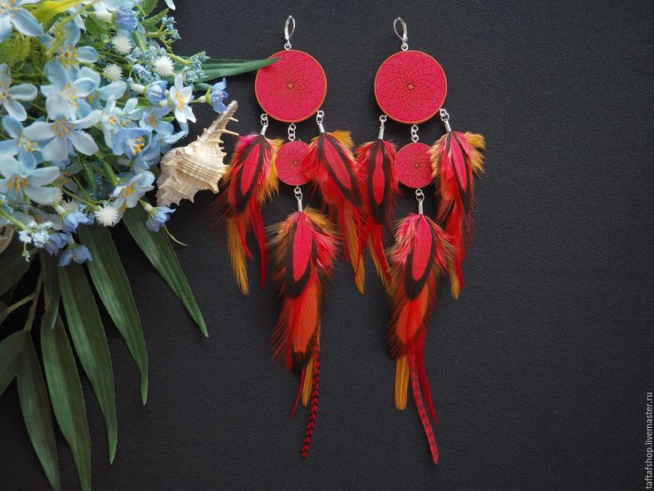 Огненная лиса - красно-рыжие серьги с перьями бохо с ловцом снов - серьги с перьями