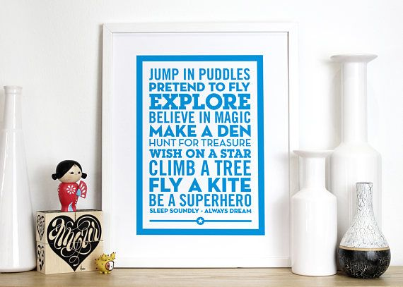 Nursery Wall Print - Be a Superhero Screen Print - Baby Gift Print - Playroom Quote Print - Typography by Chatty Nora - Always Dream