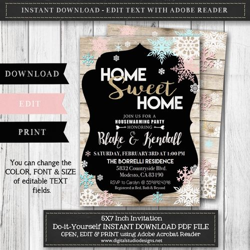 The 25 best housewarming invitation templates ideas on pinterest winter housewarming party invitation instant downloadedit with adobe reader editable invitation stopboris Image collections
