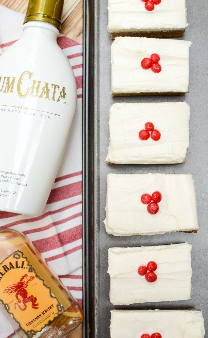 RumChata Blondies with Fireball Cream Cheese Frosting are the perfect summer party dessert. I've made them five times in five weeks and my friends keep asking for more!   theeverykitchen.com