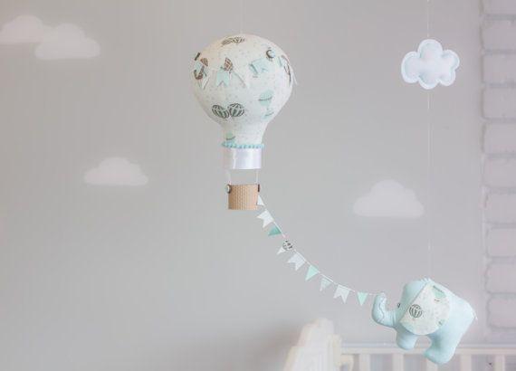 Aqua and Cream, Elephant and Hot Air Balloon Baby Mobile, travel theme nursery, Nursery Decor, i41
