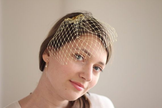 Gold blusher veil, this bridal birdcage veil in shiny metallic gold color would be a great accessory for a bride, wedding party or a special eventt.