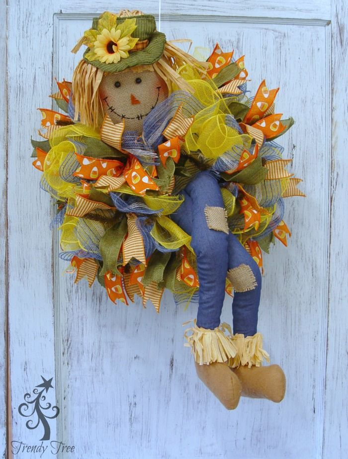 """DIY Scarecrow Wreath with legs on a 10"""" work wreath, mesh, ribbons, video/written tutorial by Trendy Tree, supplies available at http://www.trendytree.com"""