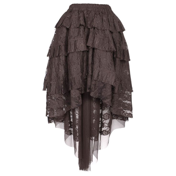 VG London Burlesque kanten rok met lagen bruin - Gothic steampunk | At