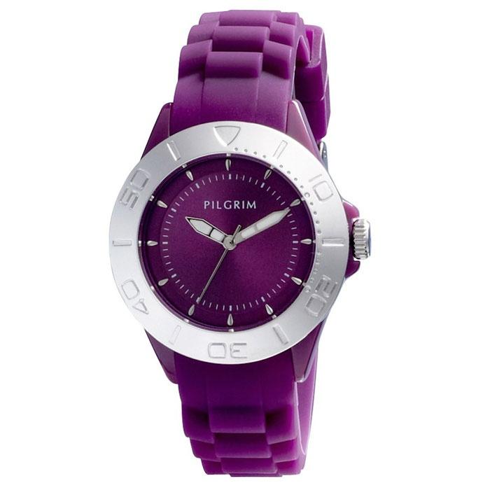 Pilgrim Silver Plated Purple Silicon Watch|lizzielane.co.uk £30
