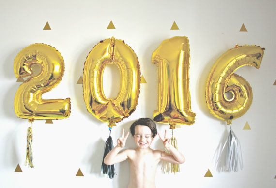 Gold New Years 2016 Number Balloons with Tassel Silver by pomtree