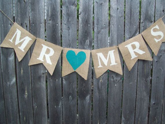 Ivory Turquoise BLUE Rustic MR MRS Burlap Banner Bunting Photo Prop Sign  Garland Country Chic Wedding