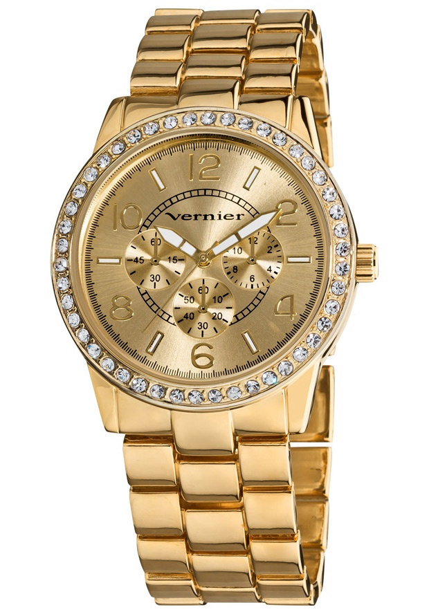 Price:$27.00 #watches Vernier VNR11124YG, This boyfriend sized time piece gives a luxurious look with genuine crystal stones along the bezel and gold tone bracelet. The chrono-look dial pattern is in fashion sure to complement any outfit.