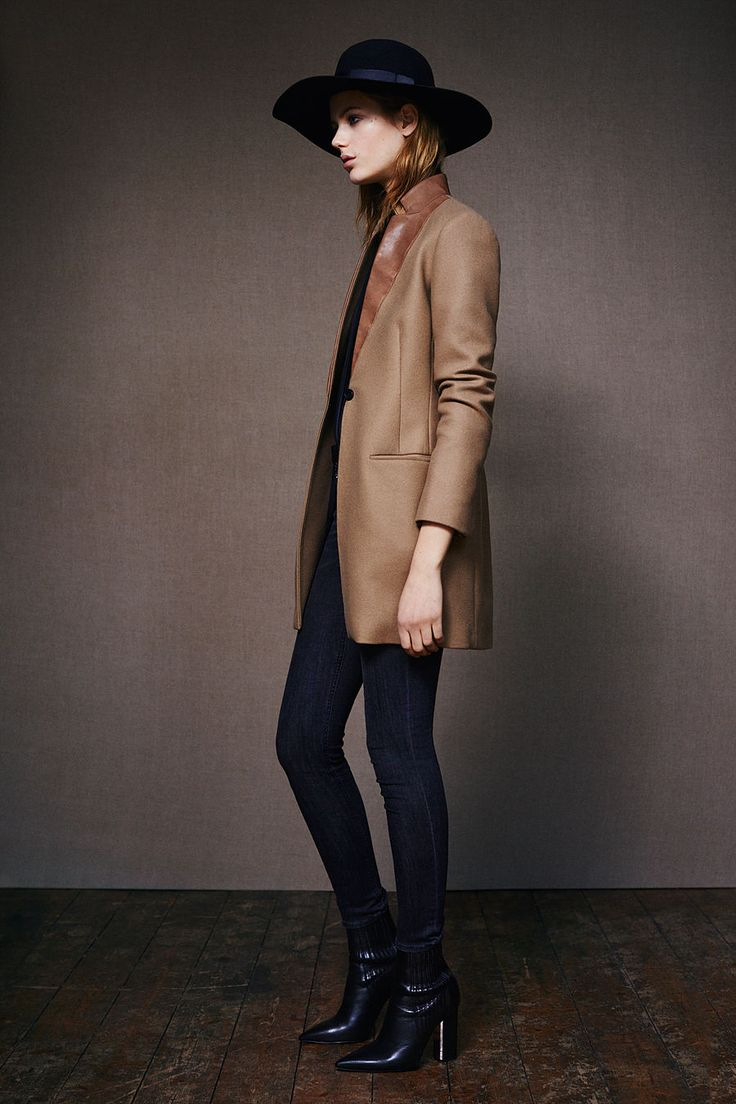 Iris Lorie Coat, Loui Shirt, Mast/Mid Grey patns - ALLSAINTS: Women's lookbook 2015 January