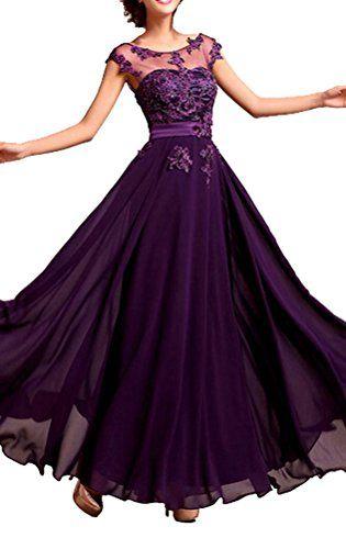 Junai Women's Chiffon Capped Long Evening Dress Purple US 14