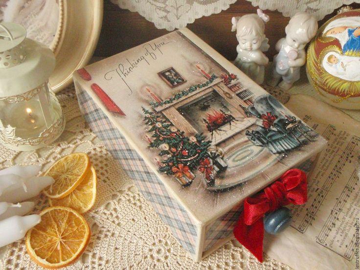 """Купить Короб-пенал """"Thinking of you"""" - короб, подарок на новый год, Декупаж, комбинированный, дерево"""