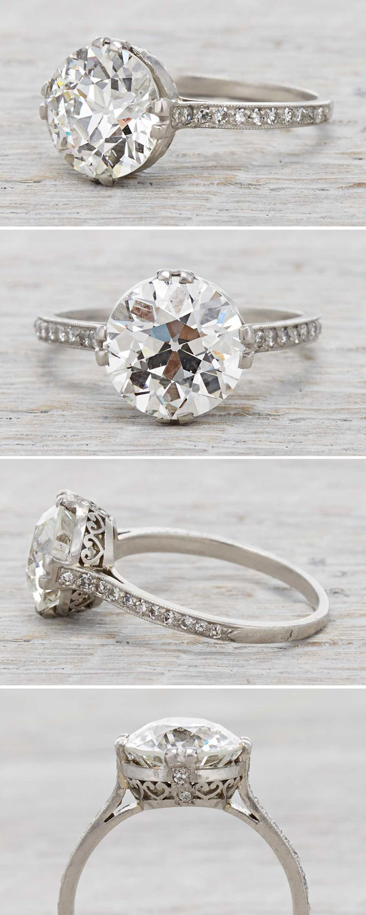 Art Deco vintage engagement ring with a 3 77 Carat Diamond Circa 1920