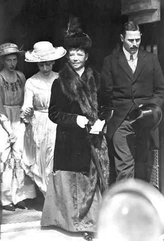 The Danish court, princess Thyra, Princess Dagmar behind empress Dagmar (Zarina Maria Feodorovna) of Russia and Prince Gustav VI Adolf of Sw...