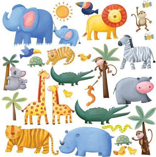 RoomMates RMK1136SCS Jungle Adventure Peel & Stick Wall Decals by RoomMates. $8.56. From the Manufacturer                It's a jungle out there, but it's a friendly and adorable one! Fun alligators, gentle lions and tigers, funky monkeys, a docile elephant and zebra, colorful giraffes, chunky hippos and rhinos—the whole gang is here under the glowing sun (with palm trees for shade). Great fun and terrific decor for infants, boys, and girls.