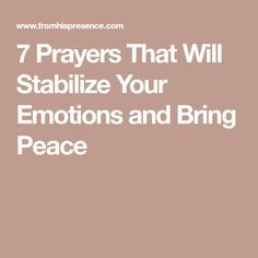 the importance of calming your emotions and trusting in the lord Emotions serve important functions and are very necessary, even though they can be really painful at times motivation -- some emotions are prompts for action for example, anger arises when something is occurring that you don't like, motivating you to act to change the situation.
