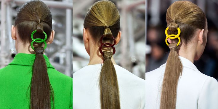 Spotted: Linked Ponytails at Christian Dior Couture Spring 2015  - HarpersBAZAAR.com. This is surprising chic.