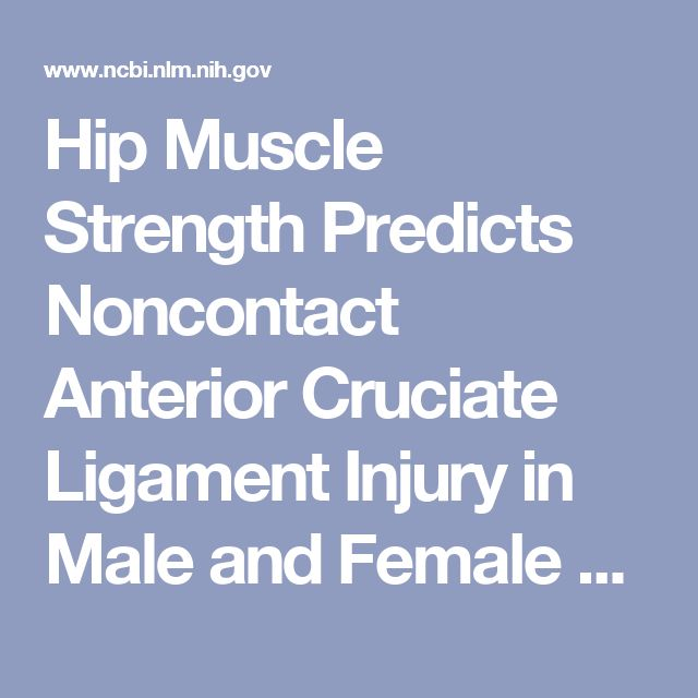 Hip Muscle Strength Predicts Noncontact Anterior Cruciate Ligament Injury in Male and Female Athletes: A Prospective Study. - PubMed - NCBI
