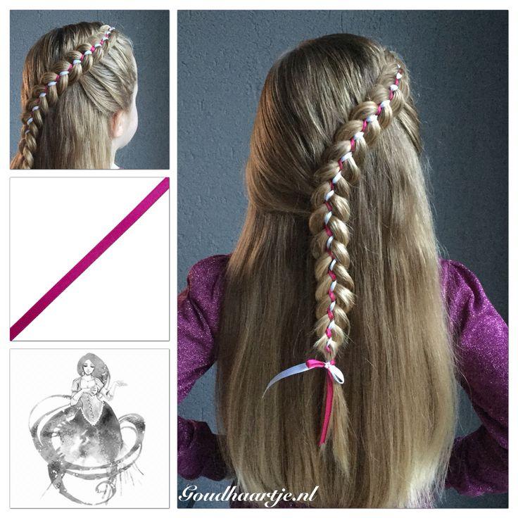 Dutch five strand lacebraid with ribbons from Goudhaartje.nl  #dutchbraid #lacebraid #ribbonbraid #halfup #halfupdo #hair #hairstyle #hairinspiration #beautifulhair #longhair #braid #braids #hairclip #hairaccessories #ribbon #vlecht #vlechten #opvlecht #haar #haarstijl  #langhaar #lint #haaraccessoires #goudhaartje