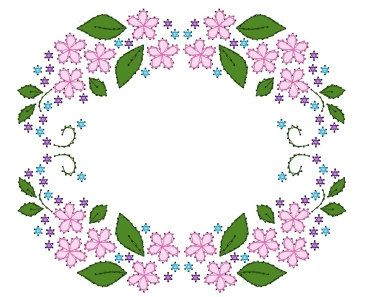 A7 5x7 Floral Wreath Frame Paper Embroidery Pattern for Greeting Cards