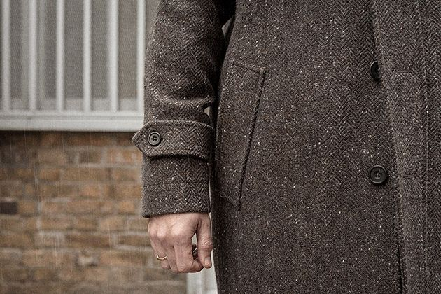 Balmacaan in tobacco-brown Donegal tweed — S.E.H Kelly