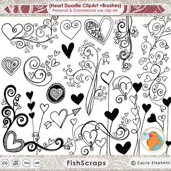 Hart illustratie Doodles afdrukbare bruiloft ClipArt door FishScraps