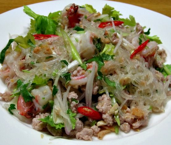 Glass Noodle Salad or Yum Woon Sen in Thai is for the health conscious who will not compromise on taste and flavors!
