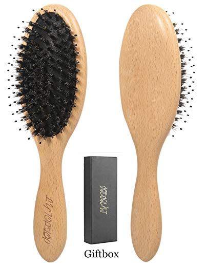 Natural Bristle Makeup Brushes: Boar Bristle Hair Brush With Detangle Pins, Natural Wooden