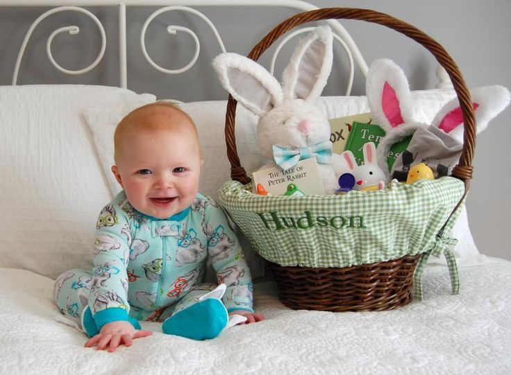 97 best easter baby pictures images on pinterest baby photos babys first easter basket negle Images