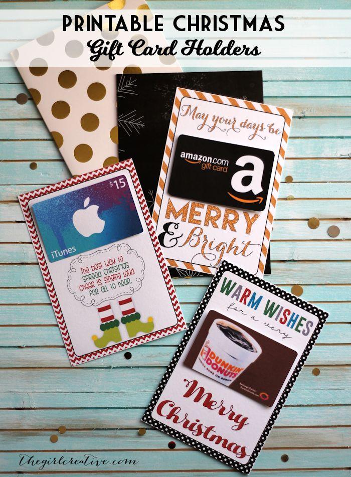Printable Christmas gift card holders - great of neighbor or teacher gifts. Christmas printables, neighbor gift ideas, teacher christmas gifts