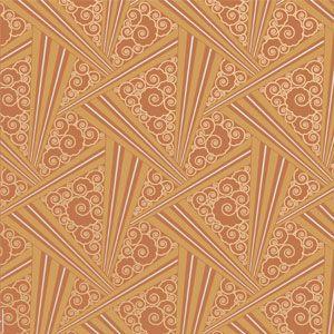 Tangerine-Zenith-Art-Deco by Bradbury & Bradbury; dining room accent wall