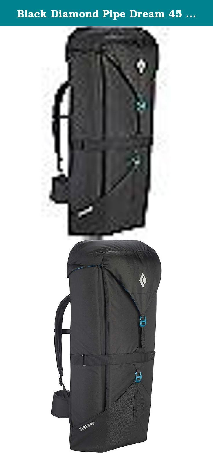 Black Diamond Pipe Dream 45 Pack Black 45L. FEATURES of the Black Diamond Pipe Dream 45 Pack Padded shoulder straps and waistbelt Three-point closure system for easy and secure volume adjustment Removable lid Zippered top pocket Zippered internal pocket with key clip Two internal gear loops.